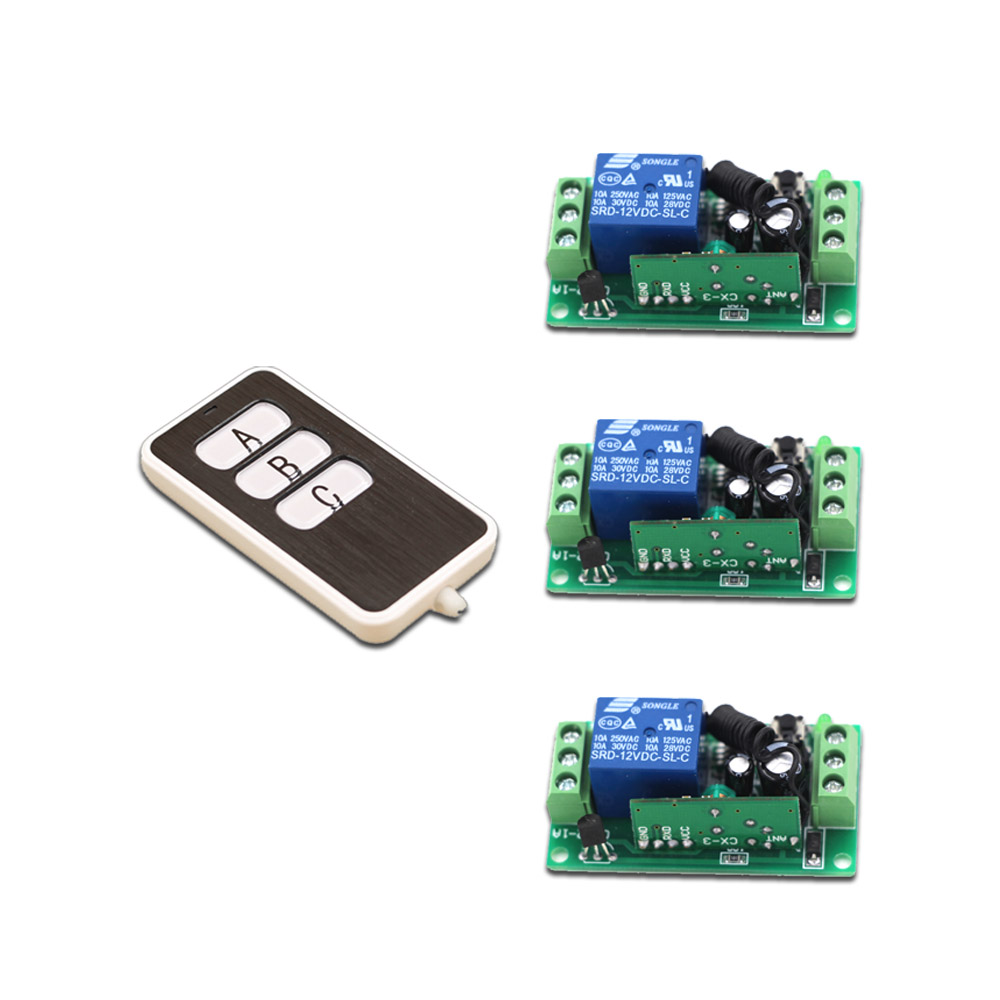 A B C Key DC9V 12V 24V RF Wireless Remote Control Switch Integrated Circuit with Transmitter +3Receiver 315MHZ 433MHZ SKU:6170 бесплатная доставка integrated circuit ds1744w 120ind ic rtc ram y2k 3 3 в 120ns 28 edip 1744 ds1744 1 шт