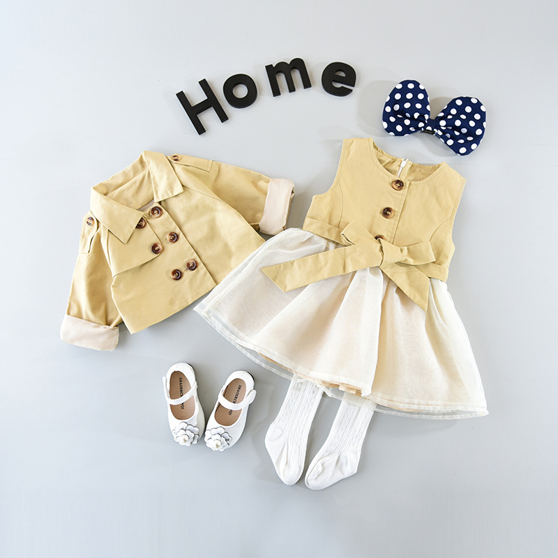 2018 Spring And Autumn, New Girls, Girls' Coat, Windbreaker + Princess Dress, Two Suits. Aesthetic Appearance
