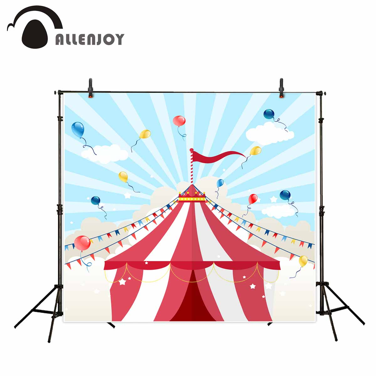 Allenjoy photography background cartoon circus tent colorful balloon flags backdrop photography studio camera fotografica стоимость