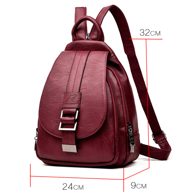 Women's Red Backpack PU Leather School Style