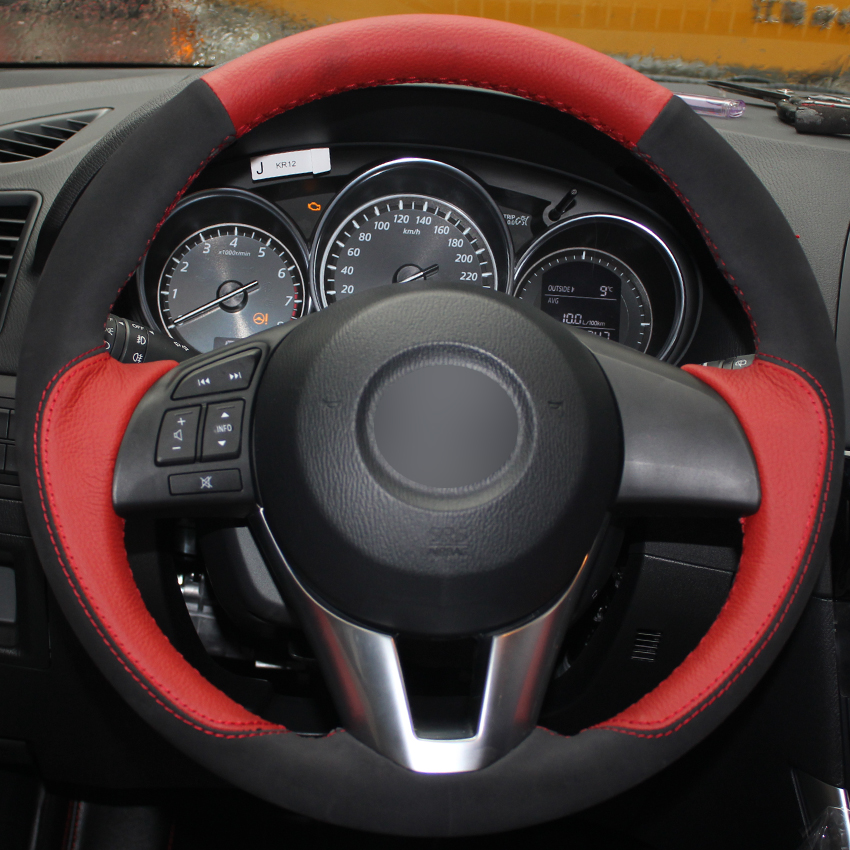 Red Natural Leather Black Suede Car Steering Wheel Cover for Mazda 3 Axela Mazda 6 Atenza