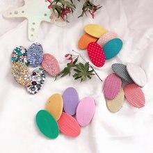 цена на Korean Japan New Solid Print Plaid Dot Oval Cute Kids Children Girls BB Hairpins Hair clips Head wear Accessories-SWC5