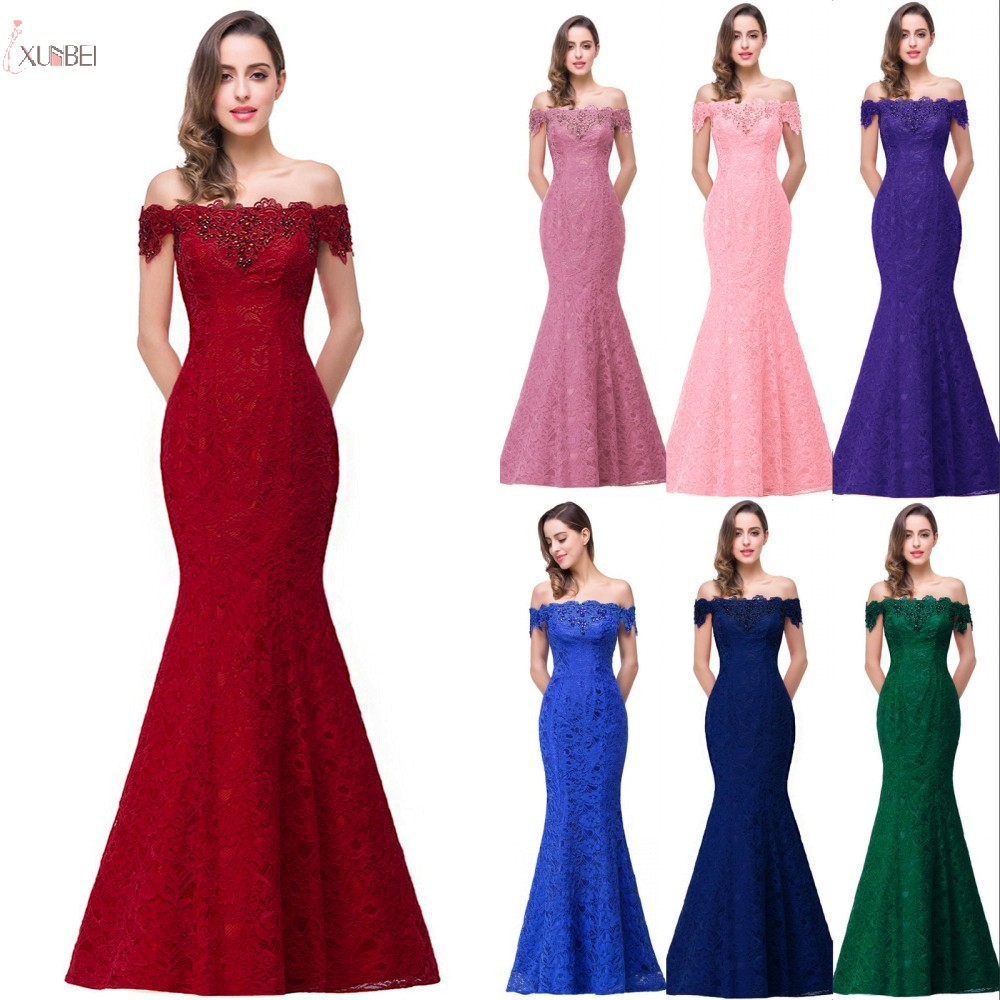 2019 Burgundy Lace Mermaid Long   Bridesmaid     Dresses   Off The Shoulder Beading Wedding Party Gown