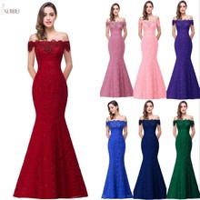 2019 Burgundy Lace Mermaid Long Bridesmaid Dresses Off The S