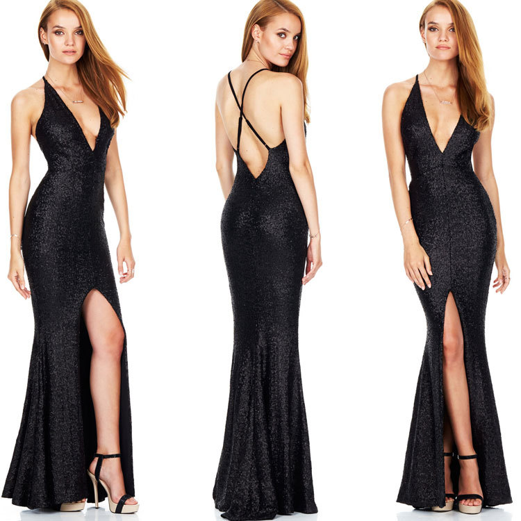 2017 Sexy Backless Floor Length Rose Gold Sequin Dress