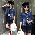 Hot sale baby girl denim clothing fashion pocke hole children's coat for sping and autumn new style
