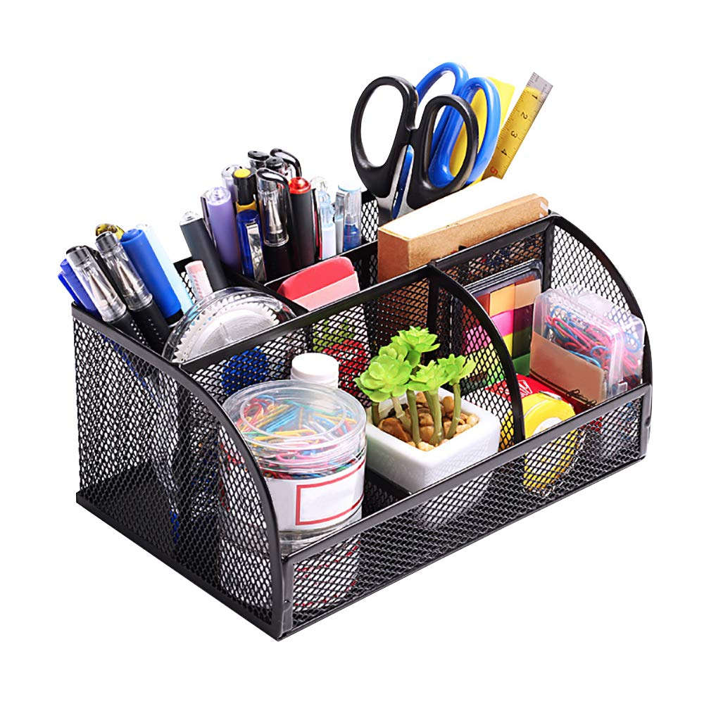 MyLifeUNIT Metal Mesh Pen Container Organizer Multi-Functional Desk Storage Rack Pen Holder Office Supplies
