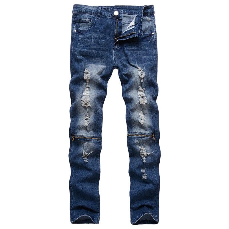 Мужские летние в европейском и американском стиле тонкие улица тенденция повседневные джинсы до колена на молнии в стиле ретро Стильный то... ...