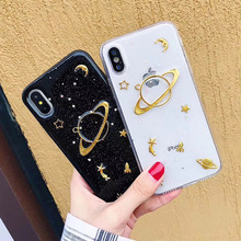 Luxury Gold Foil Phone Case For iPhone XS Max XR X Silicone TPU Moon Stars Planet 7 6S 6 8 Plus Coque Cover