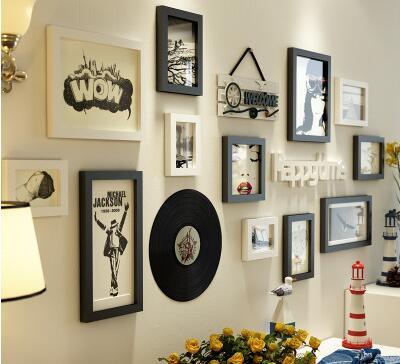 Europese Muur Ornamenten Hanger woonkamer muur opknoping creatieve schilderen vinyl record ornamenten herten hoofd muurstickers in set - 6