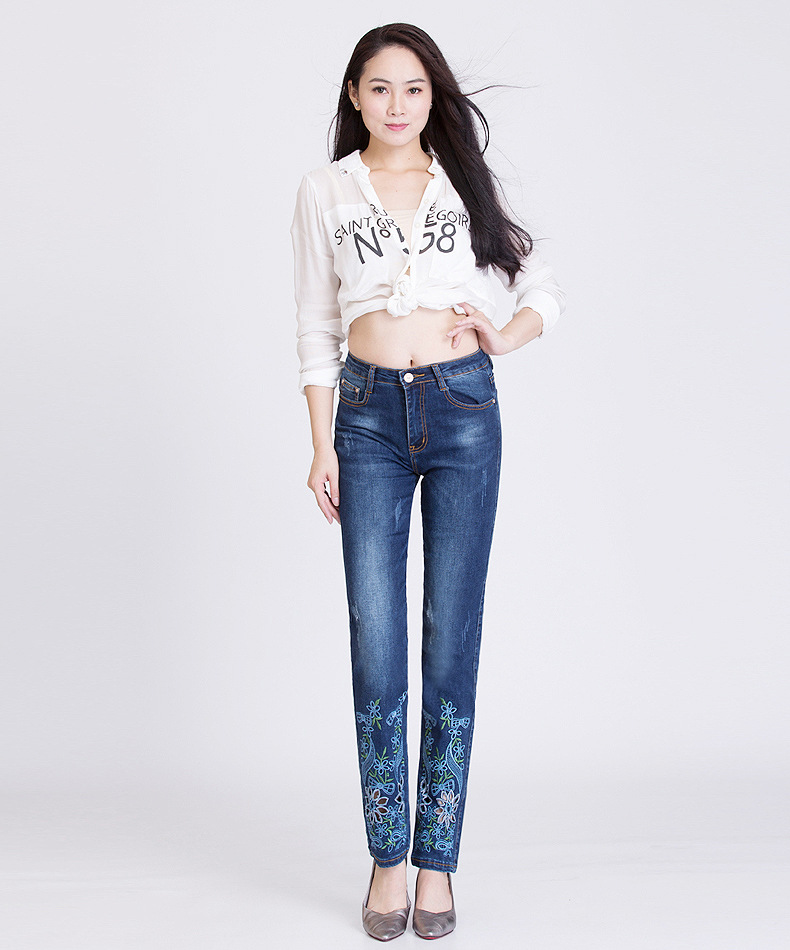 KSTUN Jeans Woman Mid Waist Embroidered Pants Light Blue Hollow Out Holes Elastic Straight Slim Fit