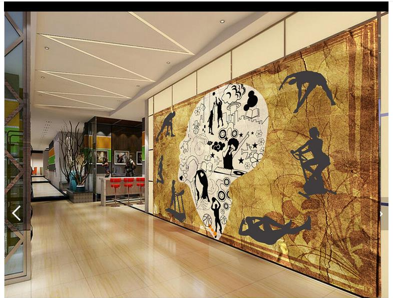 Custom 3d wallpaper for walls 3 d wall murals wallpaper Gym fitness line tooling setting wall of style restoring ancient ways