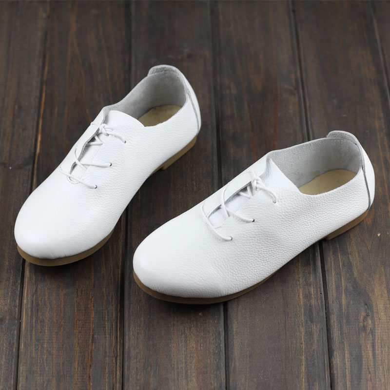 4 Color Women s Flat Shoes Genuine Leather Casual Lace Up Shoes Round toe Female Footwear