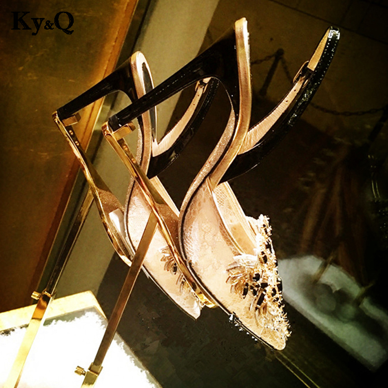 2018 Summer Chic Crystal Mesh Sandals Women Elegant Point Toe Floral High Heels Shoes Ladies Sexy Shallow Party Wedding Pumps 2017 summer beaded flowers sexy high heels shallow peep toe lace ladies sandals net cloth elegant women s pumps wedding shoes