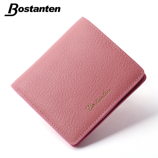 af90072961f Bostanten Cowhide Genuine Leather Womens Purse Short Luxury Wallet For  Women Pink Elegant Girl Bifold Travel Portefeuille Femme