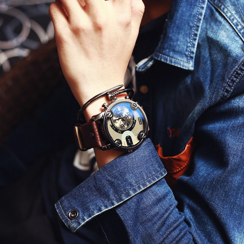 Fashion 52mm Large Dial Quartz Watch Vintage Leather Band Male Quartz Wristwatch Outdoor Military Watch Men 39 s Sport Quartz Watch in Quartz Watches from Watches