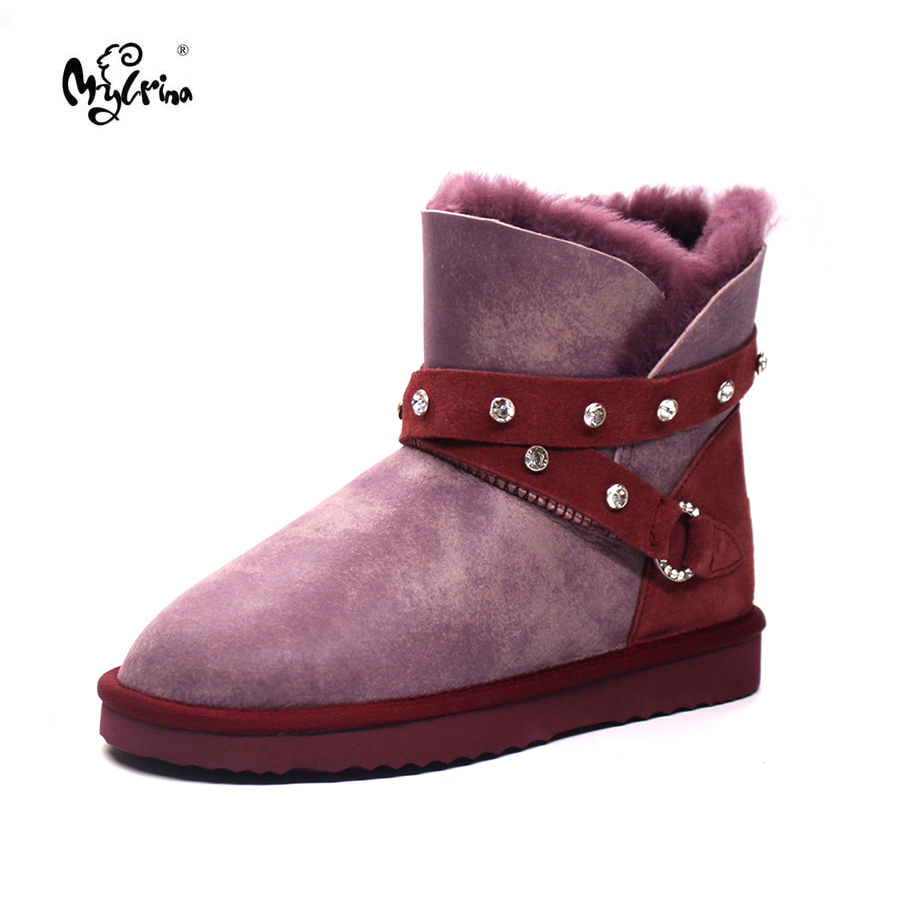 Top Quality Fashion Women Genuine Sheepskin Leather Snow Boots Natural Fur Botas Mujer Winter Real Wool Non-Slip Ankle Shoes top quality 2018 new fashion 100% genuine sheepskin leather snow boots natural fur mujer botas warm wool non slip winter shoes