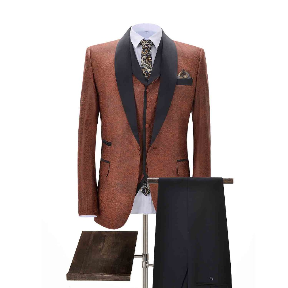 2020 New Man's Camel Suit 3 Pieces Shawl Lapel Fashion Best Man Suit Slim Fit One Button Tuxedos For Wedding(Blazer+vest+Pants)