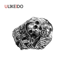 Pure 925 Sterling Silver Jewelry Hokage Four Generations Banshee Skull Ring Fashion Pirate Skeleton Punk Mens Signet Rings 103