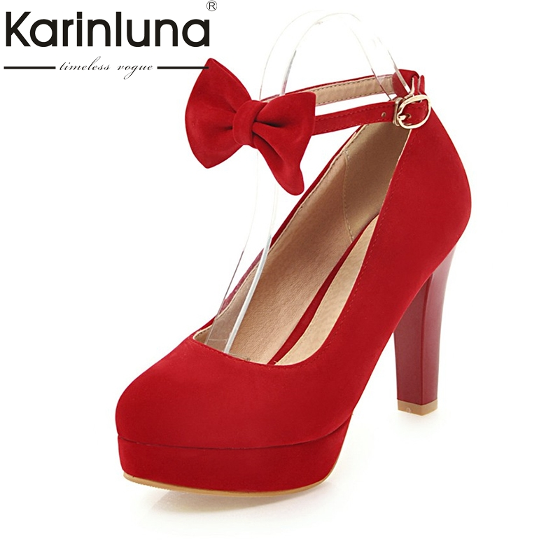 KARINLUNA High Quality 2018 Buckle Strap Large Size 31-47 Women Shoes Woman Fashion Bowtie High Heels Party Wedding Pumps karinluna 2018 large size 31 43 fashion ruffles women shoes sandals fashion wedges high heels party summer shoes woman