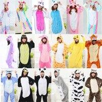 Adult Women Animal Pajamas Flannel Pajama Sets Pijama Cartoon Cosplay Warm Sleepwear Homewear Unicorn Stitch Panda