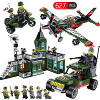 627pcs Military Legoingly City Police Fighter bombing command Headquarters car Building Blocks Bricks Educational Toys for kids