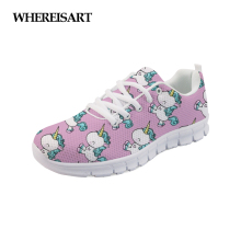 WHEREISART 2019 Spring Unicorn Prints Women Sneakers Lightweight Shoes Female Flats Casual Walking Footwear Zapatos de Mujer