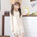 Mori menina 2017 nova primavera mulheres dress lace peter pan collar babados manga longa bonito solto menina spring dress cotton kawaii japão