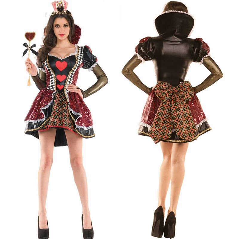 The new 2018 high quality Halloween Queen's costume black red heart heart Queen Alice in Wonderland play costume masquerade cost