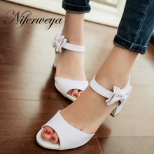 2017 New fashion summer style senior PU leather women shoes big size 33-43 high heels bowknot decoration sandals HXZ-X33-1