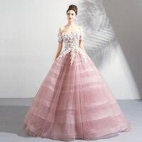Новое поступление пышные бальные платья для выпускного вечера с плеча цветы Камея розовый официальная Вечеринка платья с короткими рукава
