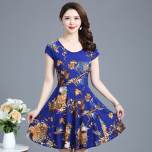 2019 summer new woman milk silk print dress womens sleeveless V-neck long beach plus size S-3XL