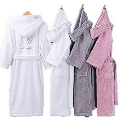 Accappatoio Uomini di Sesso Maschile Con Cappuccio Asciugamano di Cotone di Spessore In Pile Vestaglia Accappatoio Uomini di Inverno Lungo Abito Mens Bagno Kimono robe