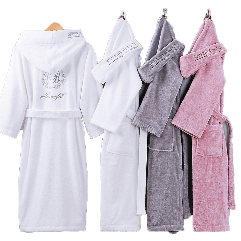 Bathrobe Men Male With Hooded Thick Cotton Towel Fleece Dressing Gown Men's Bathrobe Winter Long Robe Mens Bath Kimono Robe