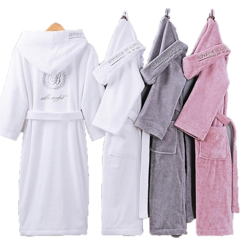 Bathrobe Men Male With Hooded Thick Cotton Towel Fleece Dressing Gown Men's Bathrobe Winter Long Robe Mens Bath Kimono Robe