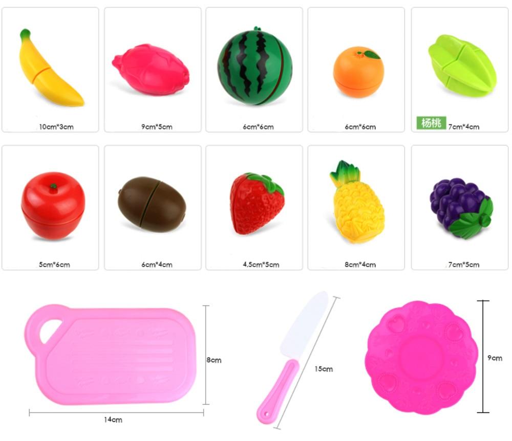2019 Hot Sale Children 13pc Cutting Fruit Vegetable Pretend Play Children Kid Educational Toy   Children Play House Toys  Set