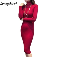 Casual turtleneck long knitted sweater dress women Cotton slim bodycon dress pullover female Autumn winter dress 2018 New