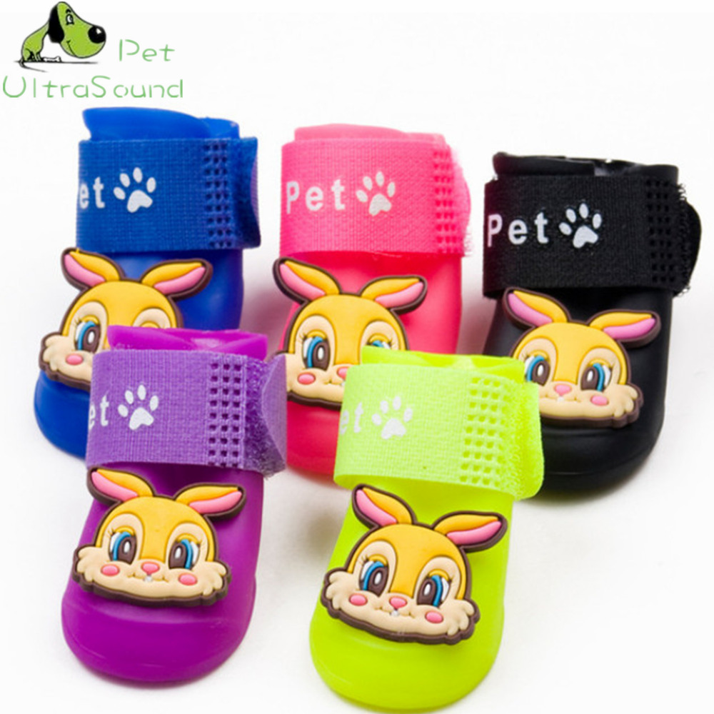 4Pcs/set Pet Dog Rabbit Pattern Boots PU Rubber Water Protective Dog Cat Shoes Black Green Red Blue Yellow Pink Purple Orange