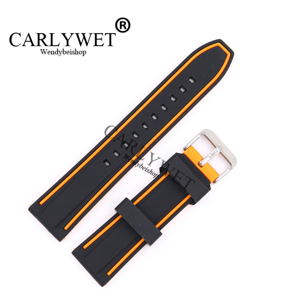 CARLYWET 22mm Wholesale Black With Orange Waterproof Silicone Rubber Replacement Wrist Watch Band Strap with Silver Buckle black blue gray red 18mm 20mm 22mm waterproof silicone watchband replacement sport ourdoor with pin buckle diving rubber strap