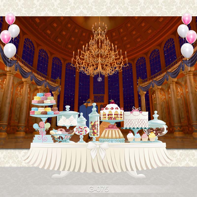 castle palace beauty and the beast birthday party photo