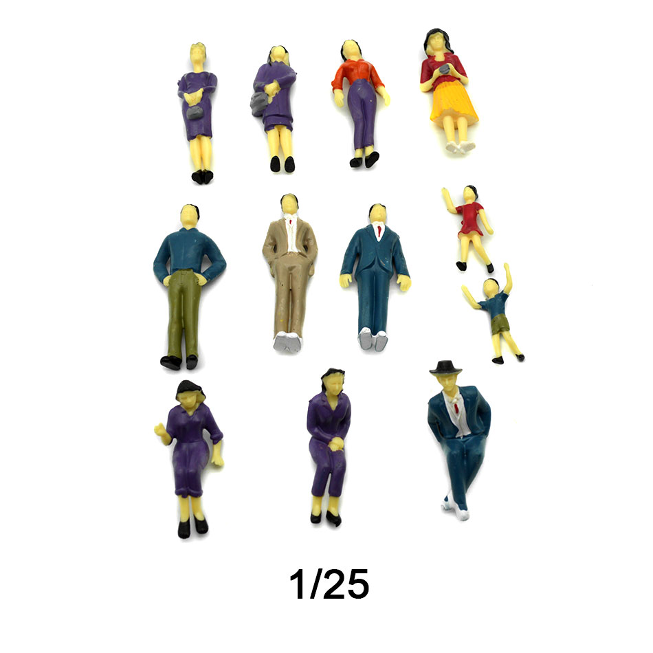 Teraysun Wholesale 20pcs Miniature Plastic Model Human Figure 1:25 Scale Model Figure
