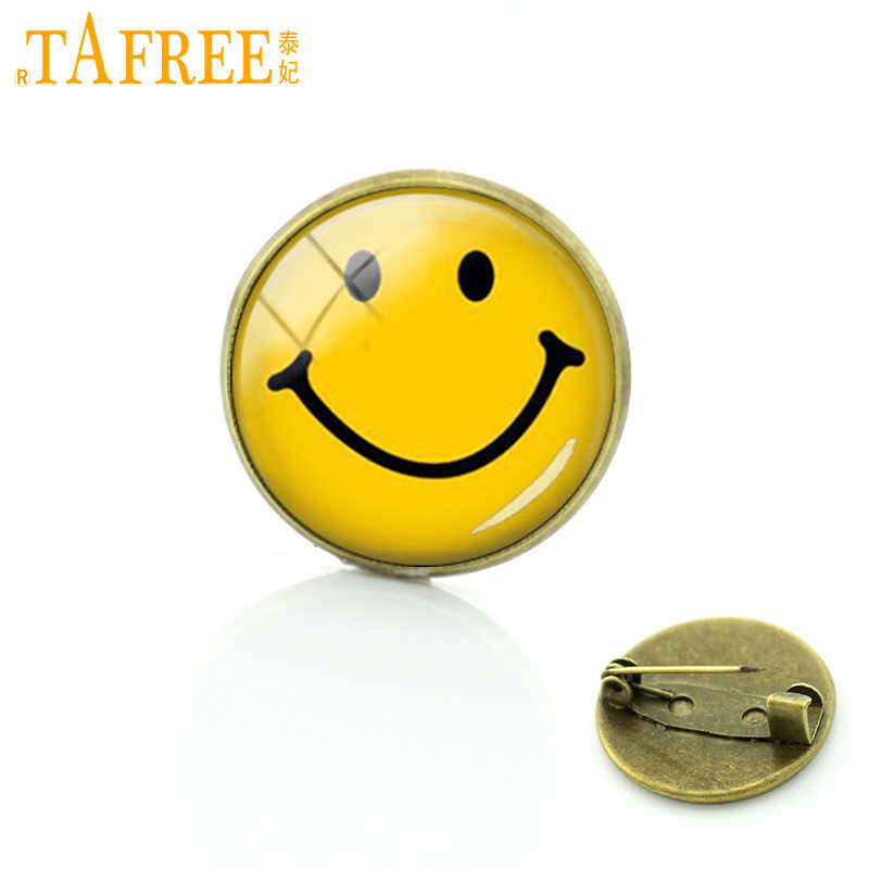 FAFREE Smiling Glass cabochon dome badge pin Jewelry Fashion love heart Christmas gift for men women Smile Face Brooches C218