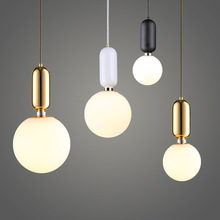 Post Modern White Ball Pendant Lights Gold Decorative Drop Light Milky White Glass Gall Contemporary Home Lighting Pendant Lamp