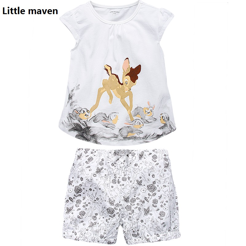 2017 Little Maven 1-6 Years Baby Girls Set Quality Brand Short Sleeve T-shirt+Shorts 100% Cotton Kids Summer Clothes Set KF175 little maven kids brand clothes 2017 new autumn baby girls clothes cotton bird printing girl a line pocket dress d063
