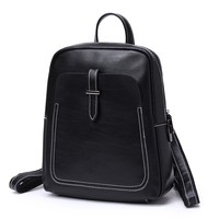 Fashion Vintage Women Leather Backpack Multifunction Genuine Leather Female Backpack Small Women Shoulder Bags Solid Black