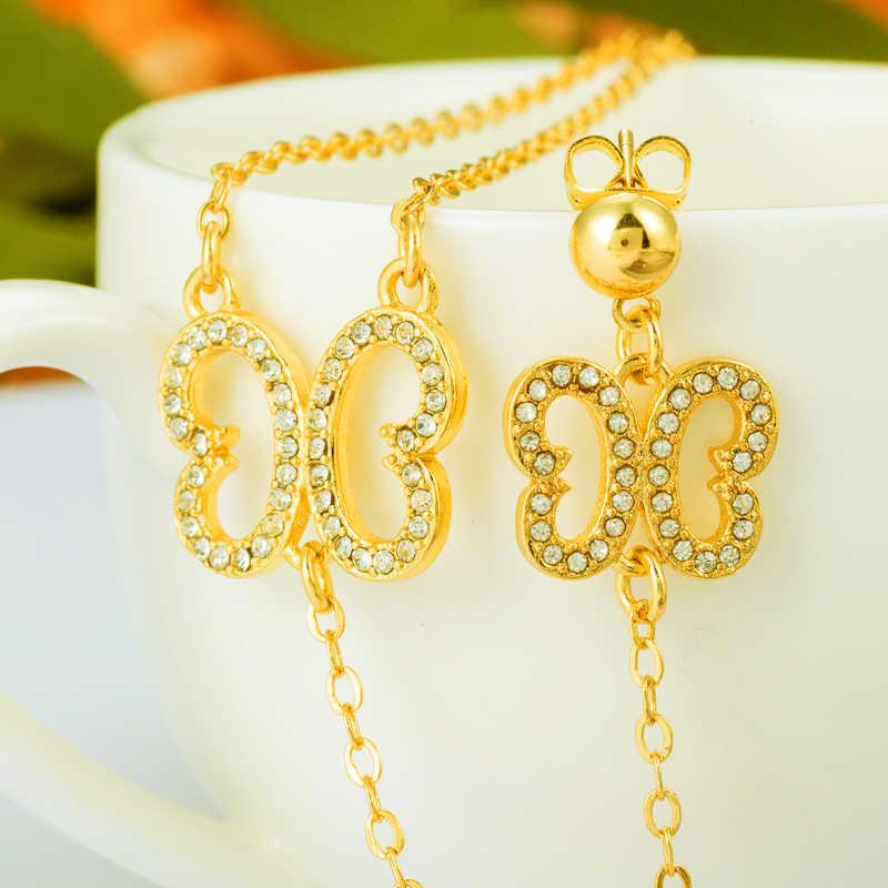 זהב ColorAfrican כלה חתונה עגיל פרפר שרשרת עגיל ערבי לנשים האתיופית תכשיטי אריתריאה Habesha סודן סט