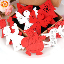 цена на 10PCS White&Red Creative Santa Claus Wooden Pendants Ornaments For Christmas Party Xmas Tree Ornaments Kids Gifts Decorations