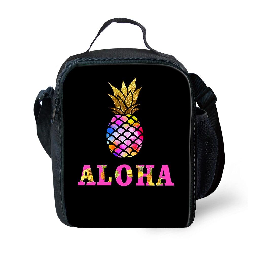 Verão das Crianças Aloha Abacaxi Totes Reutilizáveis Lanche Piquenique Isolado Almoço Bolsas Lancheira Térmica Escolar Infantil