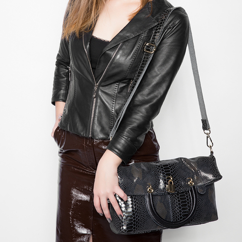 REALER Genuine Leather Bags for women Snake Pattern Tote Bag Top Quality Leather Handbags Evening Clutch Female Shoulder Bag Karachi
