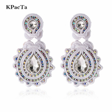 KPacTa New Soutache Handmade Fashion Earring Ethnic Jewelry Women Colorful Crystal Decoration Drop Party Gifts Oorbellen